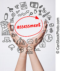 Technology, internet, business and marketing. Young business woman writing word: assessment