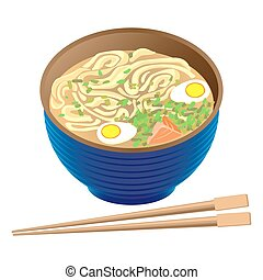 Japanese traditional food ramen soup in deep bowl and sticks...