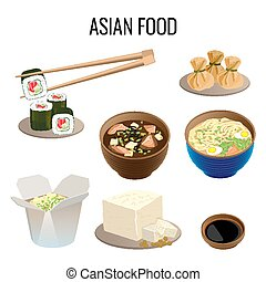 Asian food. Collection of traditional national oriental dishes on white.