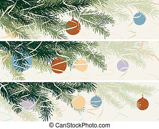 Horizontal banner of Christmas spruce branch. - Set vector...