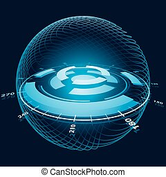 Fantasy Space Navigation Sphere Vector Illustration