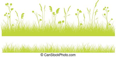 Print - Set of 2 green monochrome grass borders isolated on...