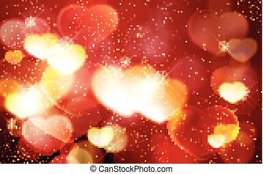 Valentine's day, romantic red bokeh background with glowing...