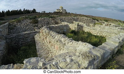 Stone wall ruins of the Greek town of Chersonese - RUSSIA,...