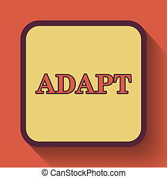 Adapt icon, colored website button on orange background.
