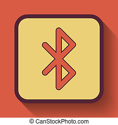Bluetooth icon, colored website button on orange background.