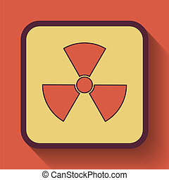 Radiation icon, colored website button on orange background.