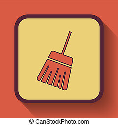 Sweep icon, colored website button on orange background.