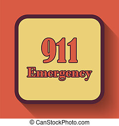911 Emergency icon, colored website button on orange...