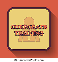 Corporate training icon, colored website button on orange...