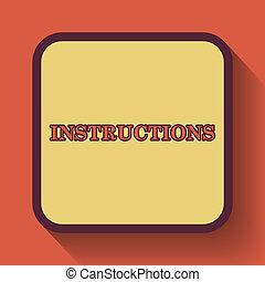Instructions icon, colored website button on orange...