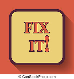 Fix it icon, colored website button on orange background.
