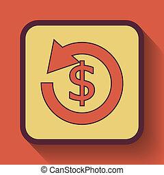 Refund icon. - Refund icon, colored website button on orange...