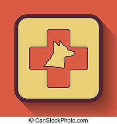 Veterinary icon, colored website button on orange...