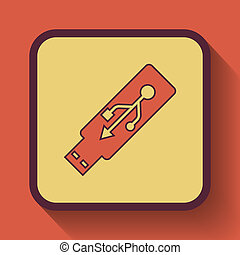 Usb flash drive icon, colored website button on orange...