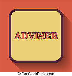 Adviser icon, colored website button on orange background.