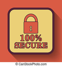 100 percent secure icon, colored website button on orange...