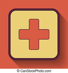 Medical cross icon, colored website button on orange...