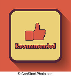 Recommended icon, colored website button on orange...