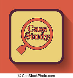 Case study icon, colored website button on orange...