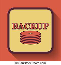 Back-up icon, colored website button on orange background.