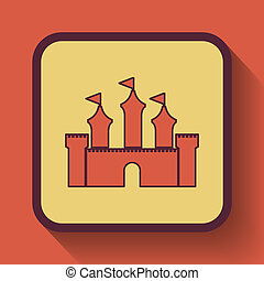 Castle icon, colored website button on orange background.