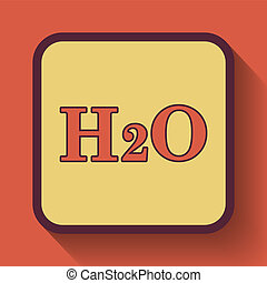 H2O icon, colored website button on orange background.
