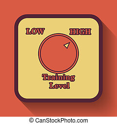 Training level icon, colored website button on orange...