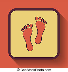 Foot print icon, colored website button on orange...