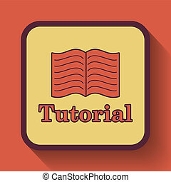 Tutorial icon, colored website button on orange background.
