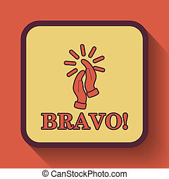 Bravo icon, colored website button on orange background.