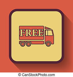 Free delivery truck icon, colored website button on orange...