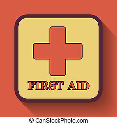 First aid icon, colored website button on orange background.