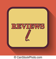 Reviews icon, colored website button on orange background.