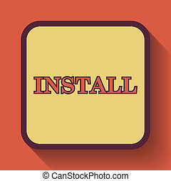 Install icon, colored website button on orange background.