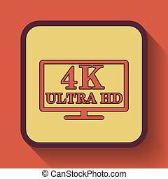4K ultra HD icon, colored website button on orange...