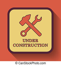 Under construction icon, colored website button on orange...