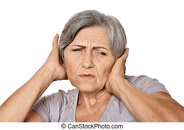 mature woman with headache against white background
