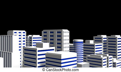 City On Black Background. Loop able 3DCG render Animation.