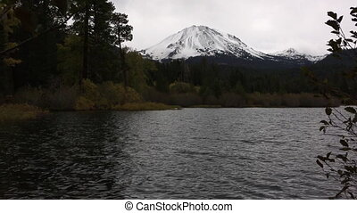 View of Mt Lassen from Manzanita Lake Fall Colors -...