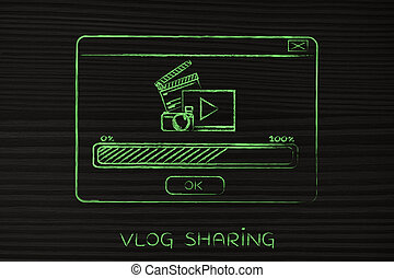 pop-up with video upload icons and progress bar - pop-up...