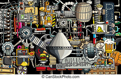 Bar, pub large illustration with beer, food and bar...