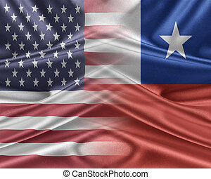 USA and Chile. Relations between two countries. 3D...