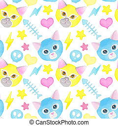 Cat fighter. Cute watercolor seamless pattern - Cat fighter....