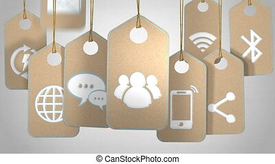 Communication and technology concept - Tags with symbols and...