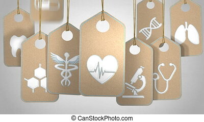 Medical and healthcare concept - Tags with symbols and icons...
