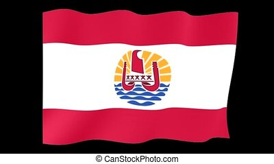 Flag of French Polynesia. Waving flag
