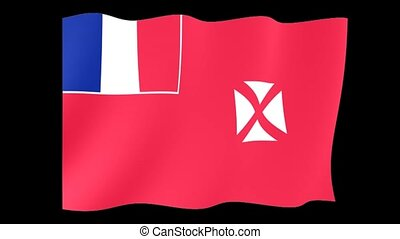 Flag of Wallis and Futuna. Waving flag - Flag animation...