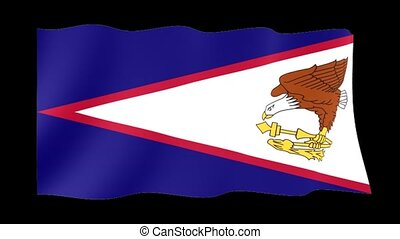 Flag of American Samoa. Waving flag