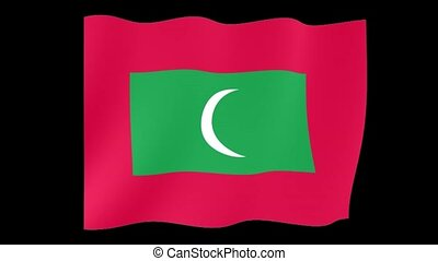 Flag of Maldives. Waving flag - Flag animation for using in...